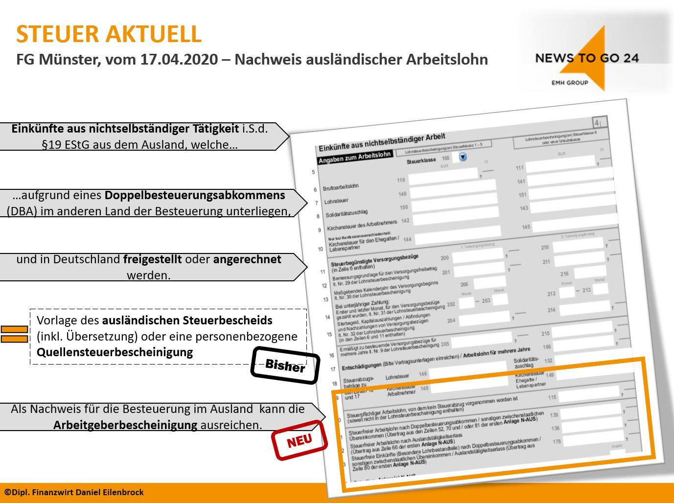 FG Urteil Zusammenfassung - Nachweis ausländischer Arbeitslohn